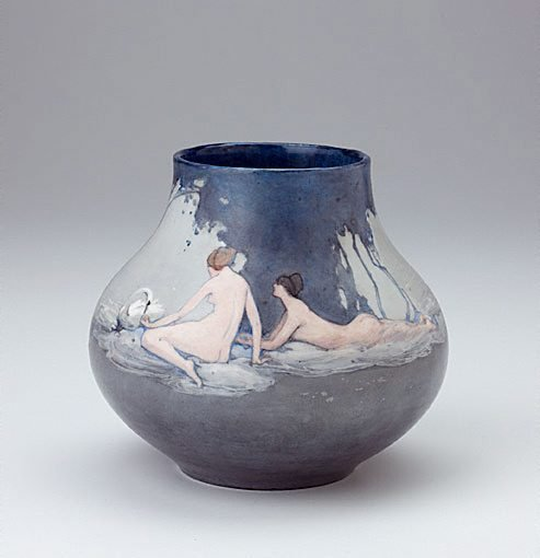 An image of Vase with pastoral design of nude figures with swans by Mildred Lovett