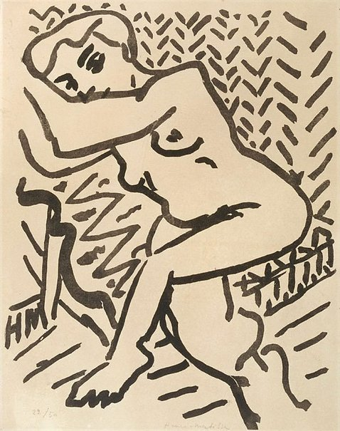 An image of Three-quarter-length nude, with arms raised by Henri Matisse