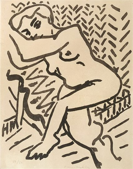 AGNSW collection Henri Matisse Three-quarter-length nude, with arms raised (1906) 222.1976