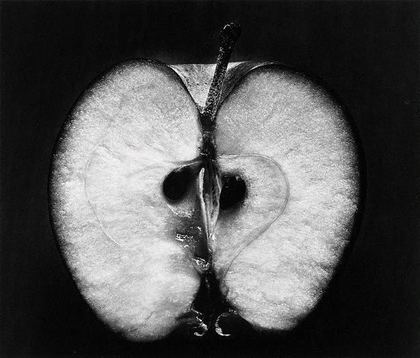 Half an apple, (1953, printed later) by Wynn Bullock