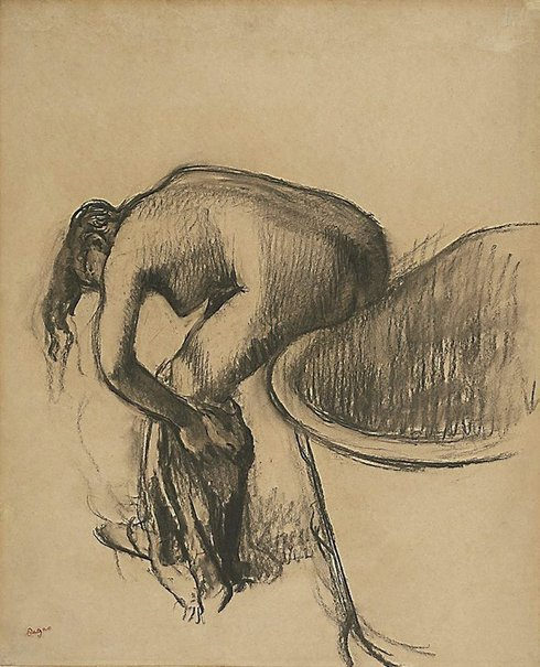 An image of After the bath by Edgar Degas