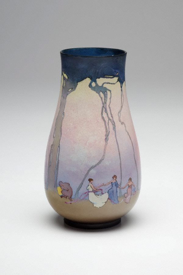 An image of Vase with pastoral design of dancing figures by Sydney Long