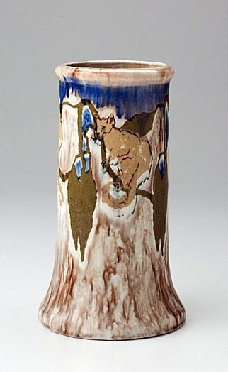 An image of Vase with possums and leaves design by Vi Eyre