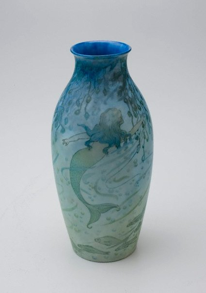 An image of Vase with mermaid design by Muriel Cornish