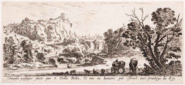 An image of (Lands, with a mother and child, cattle and goats)