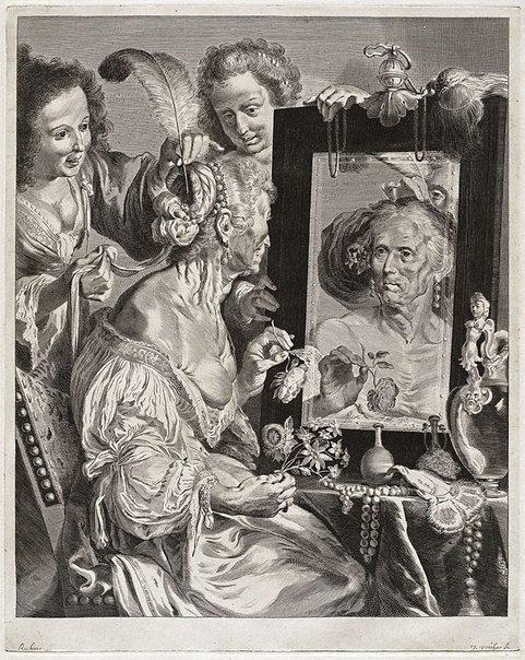 An image of Vanitas by Jeremias Falck, after Bernardo Strozzi