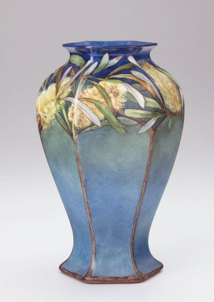 An image of Vase with yellow banksia design by Ethel Atkinson