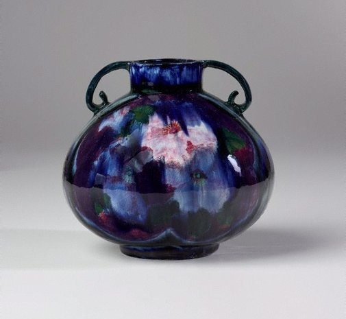 An image of Vase with hibiscus design by Edith Bell-Brown