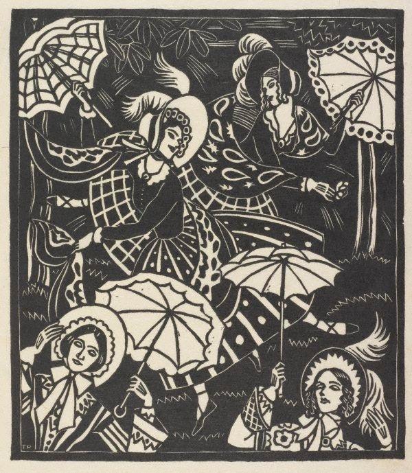 An image of Bonnets, shawls, gay parasols