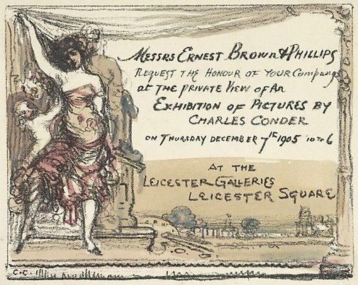 An image of Invitation to the Leicester Galleries by Charles Conder