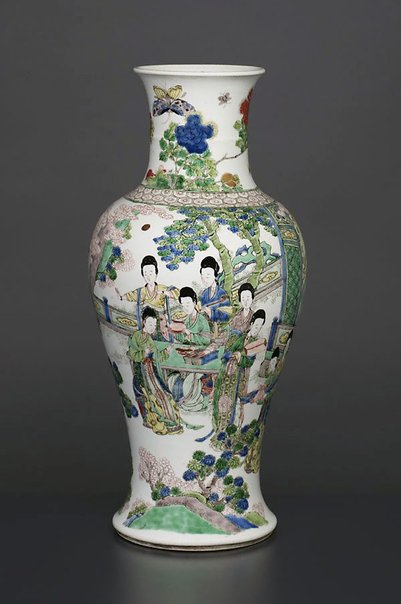 An image of Vase with design of ladies in a landscape by