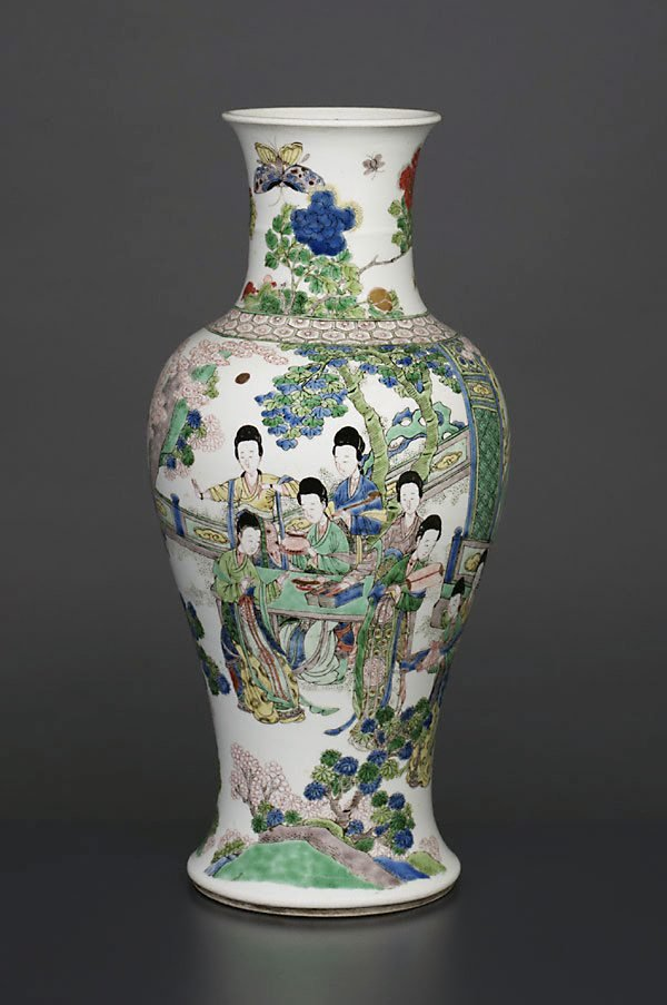 An image of Vase with design of ladies in a landscape