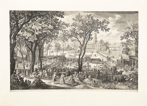 An image of Rustic fair in front of a castle