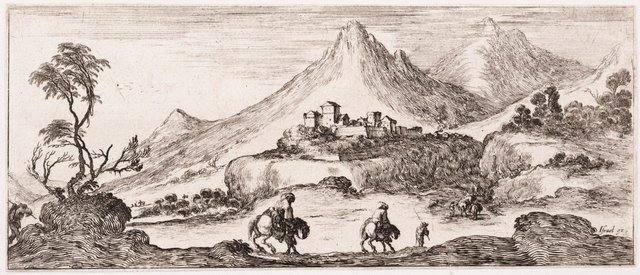 An image of (Landscape with travellers, a fortified town in front of steep mountains and goats)
