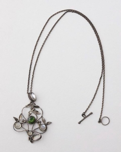 An image of Moonstones and peridot pendant and chain by attrib. Rhoda Wager