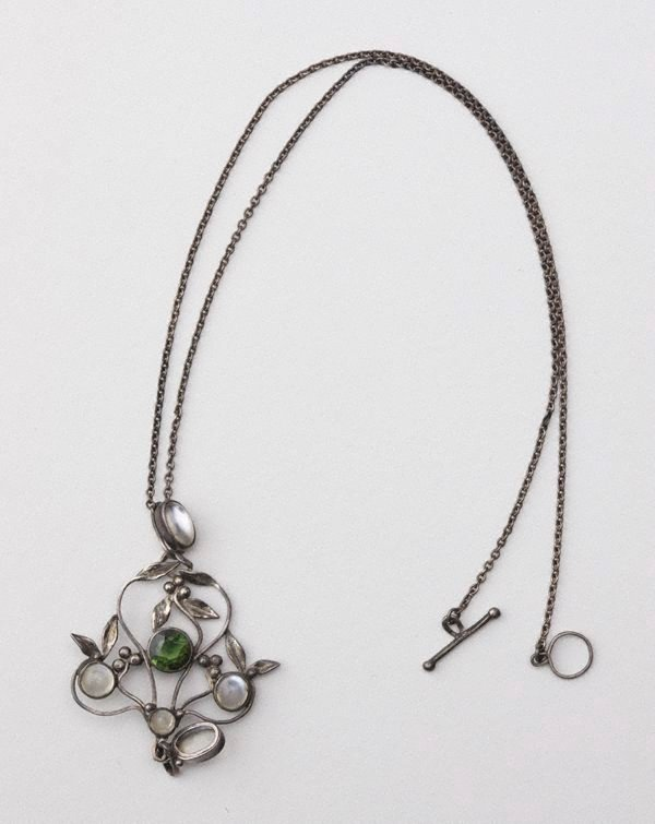 An image of Moonstones and peridot pendant and chain