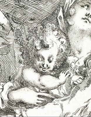 Alternate image of The Holy Family with St Catherine, St John and an angel by Jacques Bellange