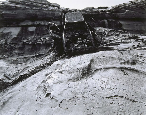 An image of Burnt vehicle, Maroubra, New South Wales