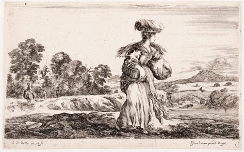 An image of (Woman carrying baskets, in a landscape) by Stefano della Bella