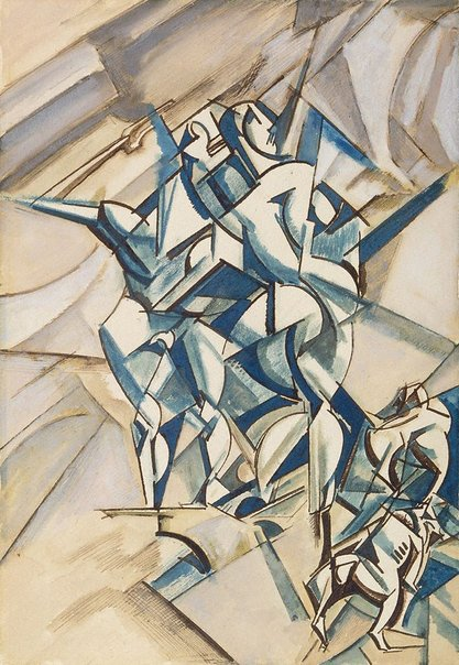 An image of Figure composition (Man and woman with two bulldogs) by Percy Wyndham Lewis