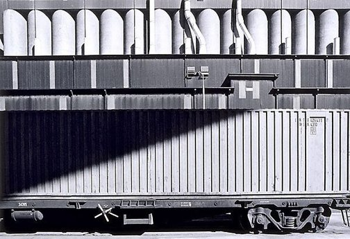 An image of Container train and silos, Sydney by Grant Mudford