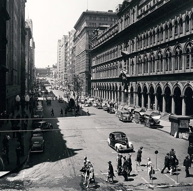 An image of Martin Place with taxi