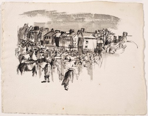 An image of Untitled (Village scene with horses) by Brett Whiteley