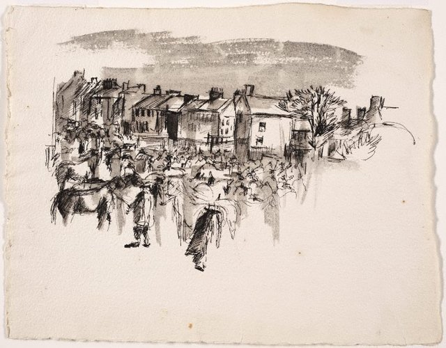 An image of Untitled (Village scene with horses)