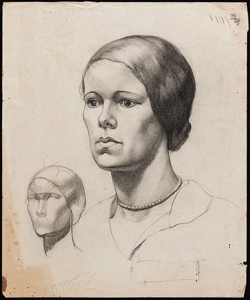 An image of Portrait of a young woman by Nora Heysen