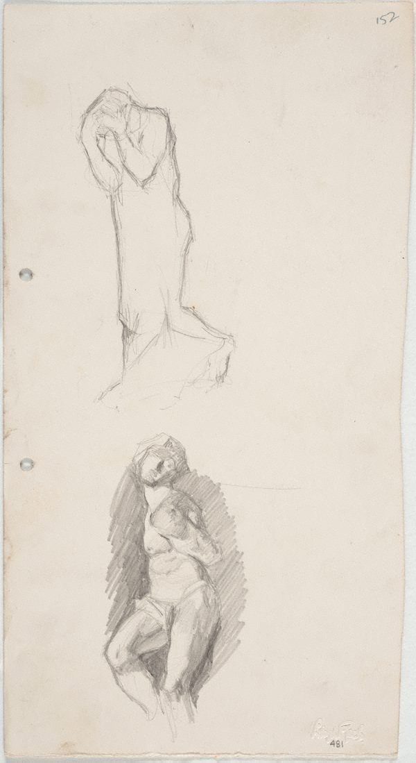 An image of recto: Rodin's 'Burgher of Calais' and Michelangelo's 'Struggling Captive' verso: Foliage studies