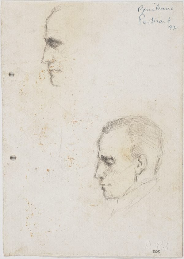 An image of recto: Vyv sketched last night home at Clayfield verso: Vyv's nose