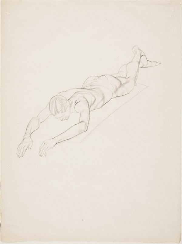 An image of Nude study - man lying, arms extended