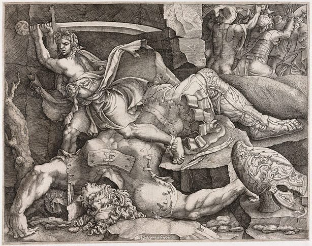 An image of David cutting off the head of Goliath