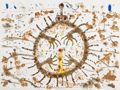 An image of Echidna upside down by John Olsen