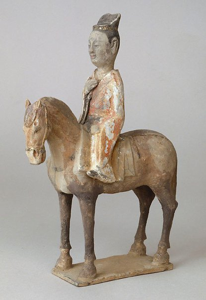 An image of Model of a horse and rider by