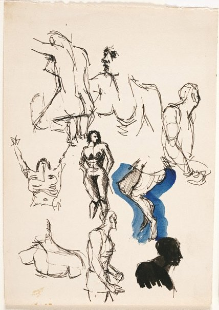 An image of (Sheet of figure studies) by Brett Whiteley