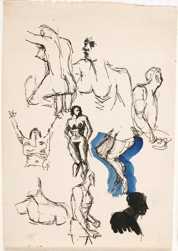 An image of (Sheet of figure studies)