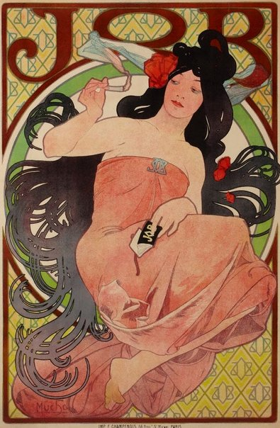 An image of Job (Poster for cigarette papers) by Alphonse Mucha