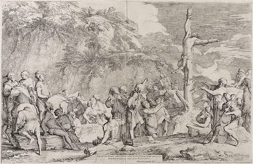 An image of The crucifixion of Polycrates by Salvator Rosa