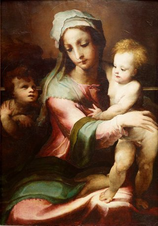 AGNSW collection Domenico Beccafumi Madonna and Child with infant John the Baptist (circa 1542) 231.1992