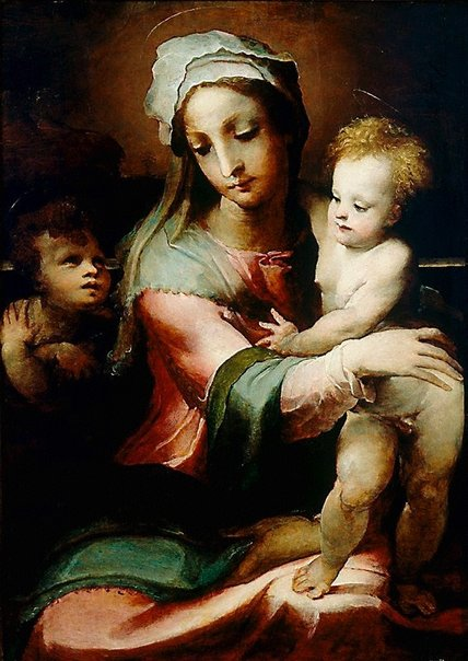An image of Madonna and Child with infant John the Baptist by Domenico Beccafumi