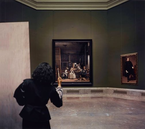An image of Las meninas reborn in the night III: opening the door in the depth of the painting by Morimura Yasumasa