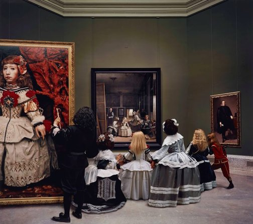 An image of Las meninas reborn in the night IV: peering at the secret scene behind the artist by Morimura Yasumasa