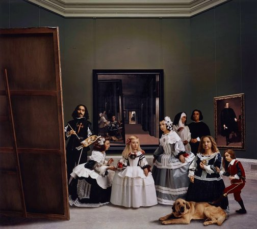 An image of Las meninas reborn in the night V: drawn by a distant light, awaken to the darkness by Morimura Yasumasa