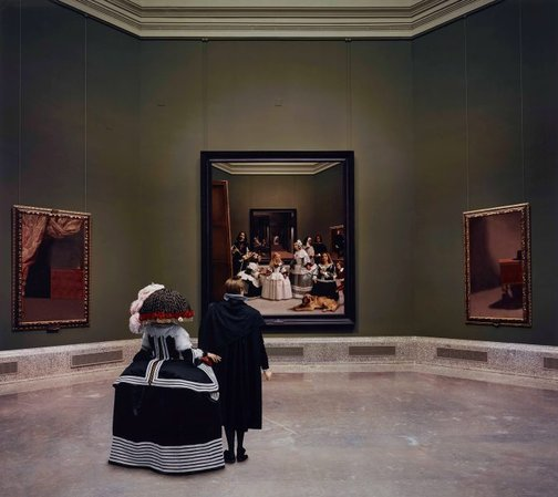 An image of Las meninas reborn in the night VI: kingdom's painting, painting's kingdom by Morimura Yasumasa