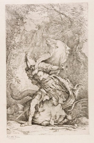 An image of Jason and the dragon by Salvator Rosa