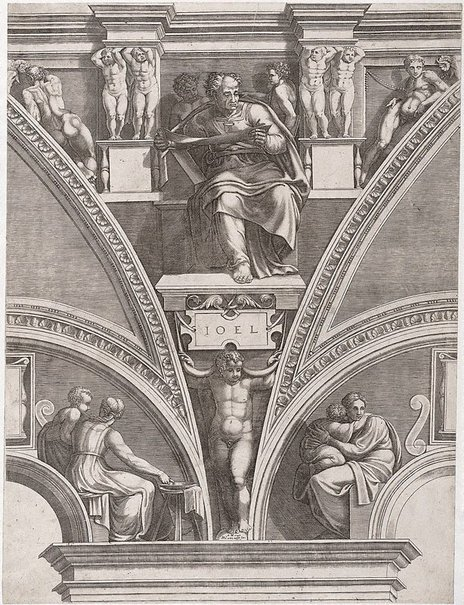 An image of The Prophet Joel by Giorgio Ghisi, after Michelangelo Buonarotti