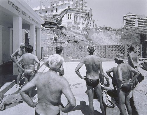 An image of Men watching excavation beside Coogee Surf Club, New South Wales by Peter Elliston