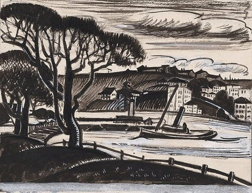 An image of Kirribilli - study for a linocut by Adelaide Perry