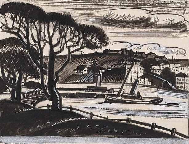 AGNSW collection Adelaide Perry Kirribilli - study for a linocut circa 1929